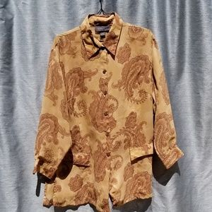 Like New Brown Floral Button Down Blouse 22/24/